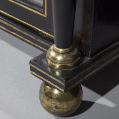 James Newton Pair of Regency Black Lacquer Marble Top Pier Cabinets - 1017002