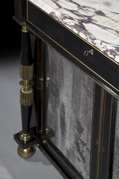 James Newton Pair of Regency Black Lacquer Marble Top Pier Cabinets - 1017004