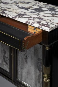 James Newton Pair of Regency Black Lacquer Marble Top Pier Cabinets - 1017005