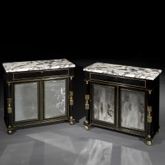 James Newton Pair of Regency Black Lacquer Marble Top Pier Cabinets - 1017006