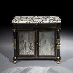 James Newton Pair of Regency Ebonised Marble Top Side Cabinets - 1047818