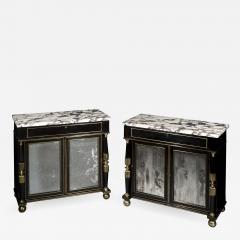 James Newton Pair of Regency Ebonised Marble Top Side Cabinets - 1050207