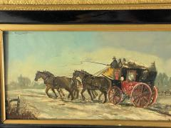 James Pollard HORSE DRAWN STAGECOACH PAINTING SIGNED BY JAMES POLLARD - 1448863
