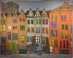 james rizzi modern cityscape painting of homes and buildings in the manner of james rizzi