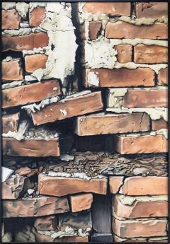 James W Voshell Trompe Loeil Painting of a Brick Wall - 1858384