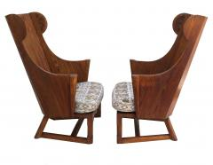 Jamestown Lounge Co Antique Pair of Carved Oak Lounge Wingback Chairs Jamestown Lounge Co  - 1956497