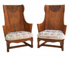 Jamestown Lounge Co Antique Pair of Carved Oak Lounge Wingback Chairs Jamestown Lounge Co  - 1956500