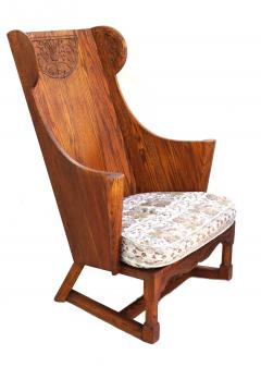 Jamestown Lounge Co Antique Pair of Carved Oak Lounge Wingback Chairs Jamestown Lounge Co  - 1956502
