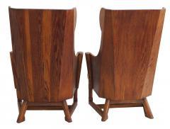 Jamestown Lounge Co Antique Pair of Carved Oak Lounge Wingback Chairs Jamestown Lounge Co  - 1956505