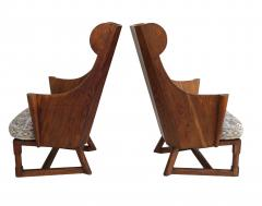 Jamestown Lounge Co Antique Pair of Carved Oak Lounge Wingback Chairs Jamestown Lounge Co  - 1956506