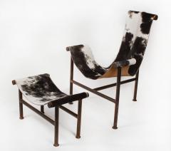 Jan Barboglio Jan Barboglio Sling Chair and Ottoman in Cowhide Patinated Steel Texas Artist - 2091089