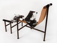 Jan Barboglio Jan Barboglio Sling Chair and Ottoman in Cowhide Patinated Steel Texas Artist - 2091090
