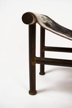 Jan Barboglio Jan Barboglio Sling Chair and Ottoman in Cowhide Patinated Steel Texas Artist - 2091094