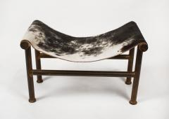 Jan Barboglio Jan Barboglio Sling Chair and Ottoman in Cowhide Patinated Steel Texas Artist - 2091096