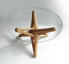 Jan Paul Meulendijks Lock bamboo dining table base only glass top not included  - 1933391