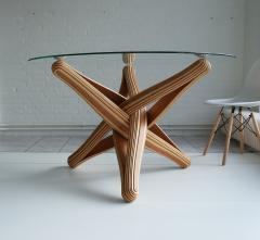 Jan Paul Meulendijks Lock bamboo dining table base only glass top not included  - 1933398