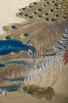 Japaese Two Panel Screen Family of Peafowl A Symbol of Family Prosperity - 1771292