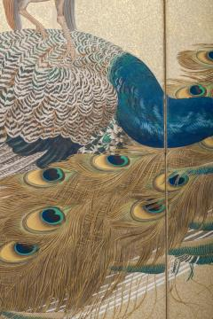 Japaese Two Panel Screen Family of Peafowl A Symbol of Family Prosperity - 1771293