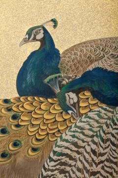 Japaese Two Panel Screen Family of Peafowl A Symbol of Family Prosperity - 1771307