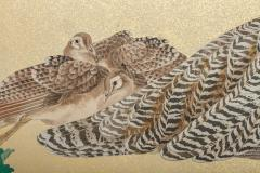 Japaese Two Panel Screen Family of Peafowl A Symbol of Family Prosperity - 1771309