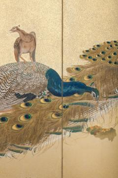 Japaese Two Panel Screen Family of Peafowl A Symbol of Family Prosperity - 1771310