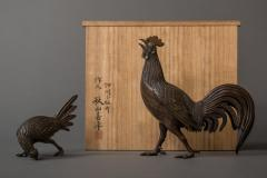 Japanese Antique Bronze Pair of Chickens Cock and Hen - 1981568