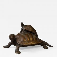 Japanese Antique Bronze Sculpture of Turtles - 1400246