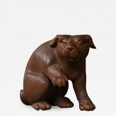 Japanese Antique Hand Carved Wood Puppy - 1422289