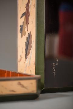 Japanese Antique Lacquer Document Box with Elaborate Hawk and Faux Oak Grain - 1981559