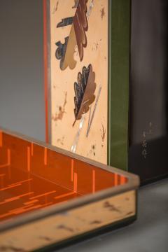 Japanese Antique Lacquer Document Box with Elaborate Hawk and Faux Oak Grain - 1981560