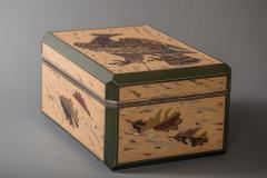 Japanese Antique Lacquer Document Box with Elaborate Hawk and Faux Oak Grain - 1981561