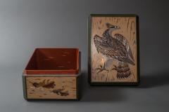 Japanese Antique Lacquer Document Box with Elaborate Hawk and Faux Oak Grain - 1981562