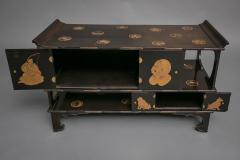 Japanese Black Lacquer Tana tiered tea cabinet with Gold Crest Design - 717219