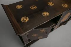 Japanese Black Lacquer Tana tiered tea cabinet with Gold Crest Design - 717221