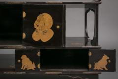 Japanese Black Lacquer Tana tiered tea cabinet with Gold Crest Design - 717238