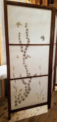 Japanese Floor Screen Shoji Paper Natural Elements Elmwood Fitted Frame 1960 - 1765152
