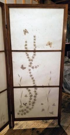 Japanese Floor Screen Shoji Paper Natural Elements Elmwood Fitted Frame 1960 - 1765154