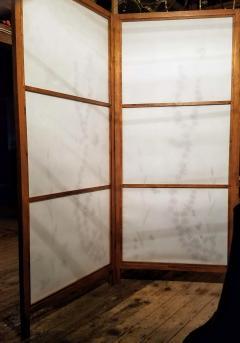 Japanese Floor Screen Shoji Paper Natural Elements Elmwood Fitted Frame 1960 - 1765160