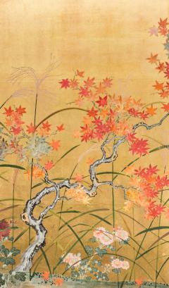 Japanese Four Panel Screen Autumn Flowers - 1631393