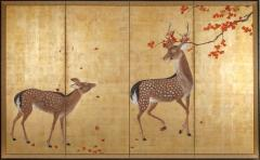 Japanese Four Panel Screen Buck and Doe with Autumn Maple on Gold - 1762383