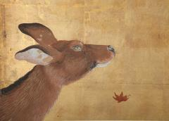 Japanese Four Panel Screen Buck and Doe with Autumn Maple on Gold - 1762393
