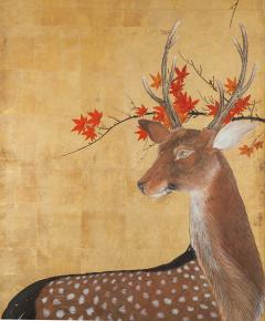 Japanese Four Panel Screen Buck and Doe with Autumn Maple on Gold - 1762422