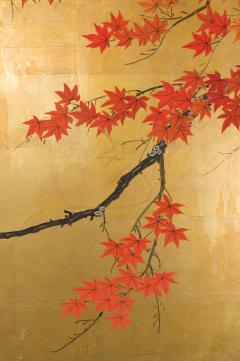 Japanese Four Panel Screen Buck and Doe with Autumn Maple on Gold - 1766823