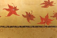 Japanese Four Panel Screen Buck and Doe with Autumn Maple on Gold - 1766827