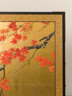 Japanese Four Panel Screen Buck and Doe with Autumn Maple on Gold - 1766835