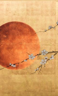 Japanese Four Panel Screen Plum Blossom and Sun Over Cresting Waves - 1421612