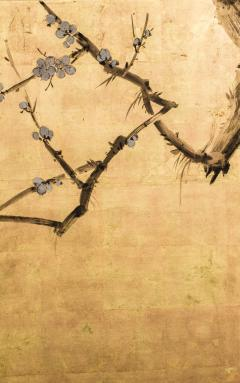 Japanese Four Panel Screen Plum Blossom and Sun Over Cresting Waves - 1421613