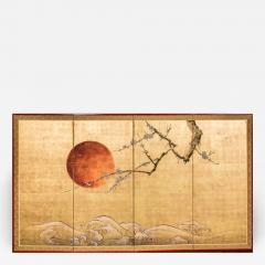 Japanese Four Panel Screen Plum Blossom and Sun Over Cresting Waves - 1422086