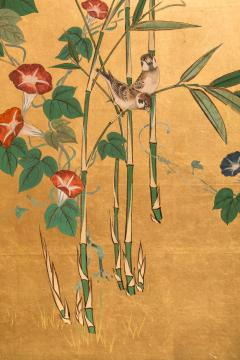 Japanese Four Panel Screen Young Bamboo and Morning Glory - 414755