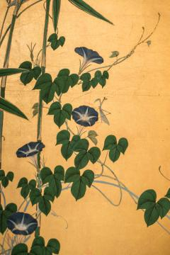 Japanese Four Panel Screen Young Bamboo and Morning Glory - 414758